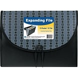 Expanding File w/closure, Poly, Letter, 1 1/2 Exp., 13 Pockets, Black/Gray