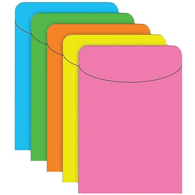 Top Notch Pockets, Assorted Brite Neon, 500/Pack