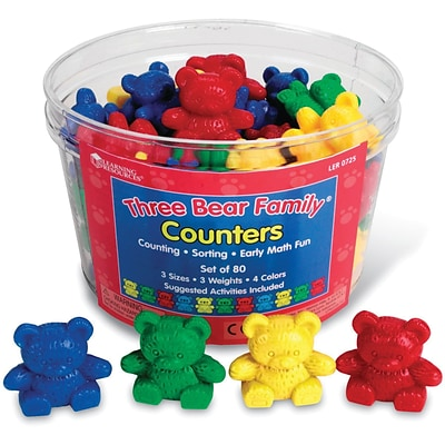 Three Bear Family Counters Basic Set, 4 Colors, Set of 80 (LER0725)