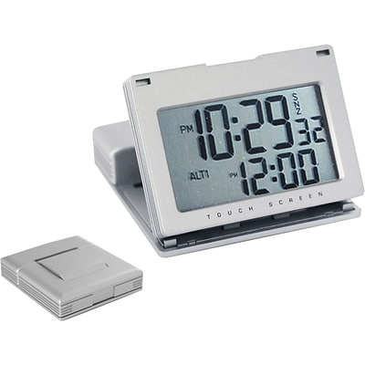 Natico Touch Panel Travel Alarm Clock, Matte Silver