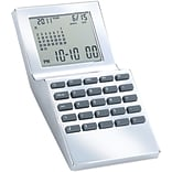 Natico Multi Functional World Time Clock, Silver