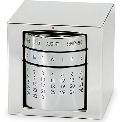 Natico Polished Silver Perpetual Calendar