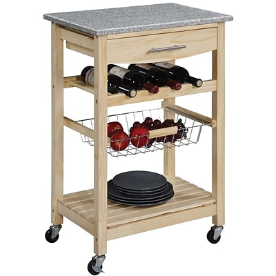 Linon Kitchen Island Cart With inlaid Granite Top; Natural