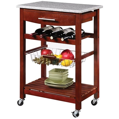 Linon Kitchen Island Cart With inlaid Granite Top; Wenge