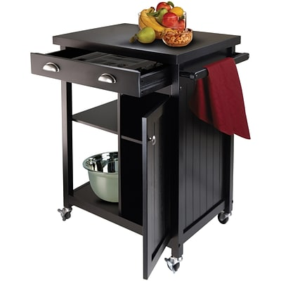 Winsome Timber Wood Kitchen Cart With Wainscot Panel, 1 Drawer, Black