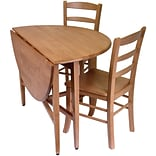 Winsome Hannah 29 1/2 x 42 x 42 Wood Round Drop Leaf Tbl W/2 Ladder Back Chairs, Light Oak, 3 Pcs