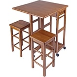 Winsome 32.76 x 29.61 x 29.13 Wood Rectangular Kitchen Bar Cart With 2 Stool, Teak