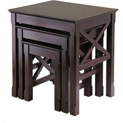Winsome Xola 22.13 x 21.1 x 17.32 Composite Wood Nesting Table, Cappuccino, 3 Pieces