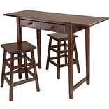 Winsome Mercer 33.86 x 49.76 x 18.48 Wood Double Drop Leaf Table With 2 Stool, Cappuccino