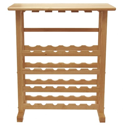 Winsome 35.67 x 31 1/2 x 16.22 Wood 24-Bottle Wine Rack With Glass Rack, Beech