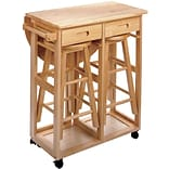 Winsome 32.79 x 29.7 x 29.29 Wood Basics Round Space Saver Drop Leaf Table With 2 Stool, Beech