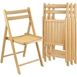 Winsome Wood Armless Folding Chair Set, Beech, 4 Pieces