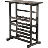 Winsome Vinny 35.67 x 31 1/2 x 16.22 Wood 24-Bottle Wine Rack With Glass Hanger, Dark Espresso