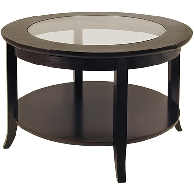 Winsome Genoa 18.03 x 30 x 30 Composite Wood Coffee Table With Glass inset & shelf, Dark Espresso