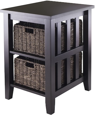 "Winsome Morris 25.04"" x 20.08"" x 16.54"" Wood Side Table With 2 Foldable Baskets, Espresso"