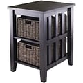 Winsome Morris 25.04 x 20.08 x 16.54 Wood Side Table With 2 Foldable Baskets, Espresso