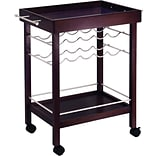 Winsome 33 1/4 x 30 x 18 1/2 Mirror Top Bar Cart With Wine Rack, Dark Espresso