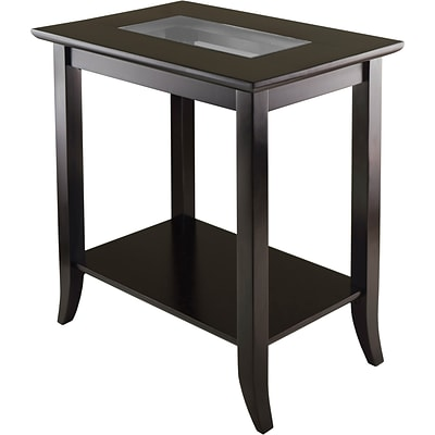 Winsome Genoa 25.04 x 23.94 x 16.3 Composite Wood End Table With Glass Top, Dark Brown