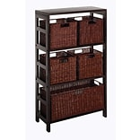 Winsome Leo 6-Pc Wood Storage Shelf With 4 Small and 1 Large Rattan Baskets, Espresso, 3/Pack