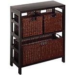 Winsome Leo Wood 4-Pc Shelf With 1 Large and 2 Small Rattan Baskets, Espresso