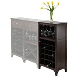 Winsome Ancona 37.52 x 19.09 x 12.6 20-Bottle Modular Wine Cabinet With Glass Rack, Dark Espresso