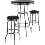 Winsome Summit 40.55 x 30 x 30 Wood Round Pub Table With 2 Swivel Stool, Black, 3 Pieces