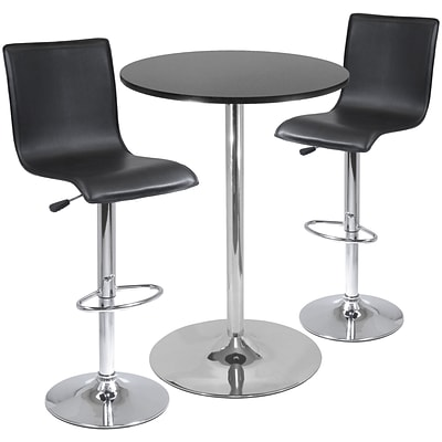 Winsome Spectrum 40.16 x 28.74 x 28.74 MDF Round Pub Tbl W/2 L-Shape Air Lift Stool, Blk, 3 Pcs