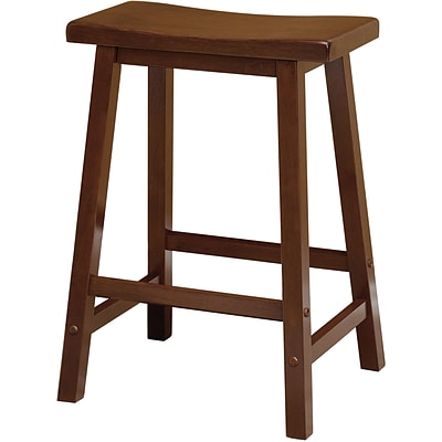 Winsome 24 Beech Wood Saddle Seat Bar Stool, Antique Walnut