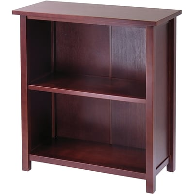 Winsome Milan Solid/Composite Wood 3-Tier Medium Storage Shelf or Bookcase, Antique Walnut