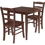 Winsome Groveland 29.13 x 29.53 x 29.53 Wood Square Dining Tbl W/2 Chair, Antique Walnut, 3 Pcs