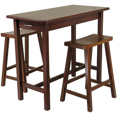 Winsome 33.27 x 39.37 x 19.69 Wood Kitchen Island Tbl W/2 Saddle Stool, Antique Walnut, 3 Pieces