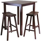 Winsome Parkland 38.98 x 33.86 Wood Square High/Pub Tbl W/2 Saddle Seat Stool,Antique Walnut,3 Pcs