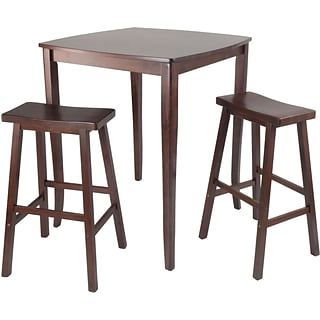 Winsome 38.9 x 33.8 Wood Square inglewood High/Pub Dining Tbl W/Saddle Stool,Antique Walnut,3 Pcs
