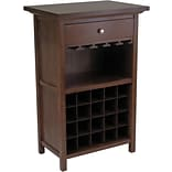 Winsome 40.4 x 26.6 x 15.7 Wood Wine Cabinet With 1-Drawer, Glass Rack, Antique Walnut