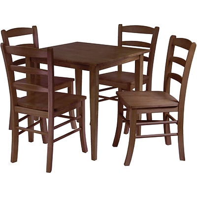 Winsome Groveland 29.13 x 29.53 x 29.53 Wood Square Dining Tbl W/4 Chair, Antique Walnut, 5 Pcs