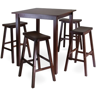Winsome Parkland 38.98 x 33.86 Wood Square High/Pub Tbl W/4 Saddle Seat Stool,Antique Walnut,5 Pcs