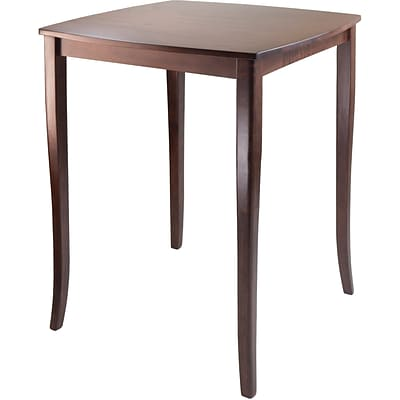 Winsome inglewood 38.9 x 33.8 x 33.8 Wood Square Curved Top High Table, Antique Walnut