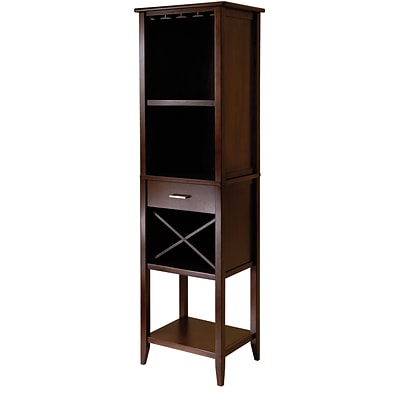 Winsome Palani 73 x 22.13 x 16.34 Wood Wine Tower, Cappuccino