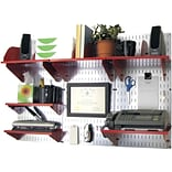 Wall Control Desk and Office Craft Center Organizer Kit; Galvanized Tool Board and Red Accessories