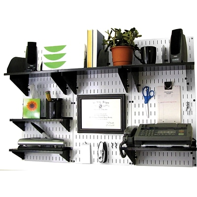 Wall Control Desk and Office Craft Center Organizer Kit; White Tool Board and Black Accessories