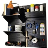 Wall Control Craft Center Pegboard Organizer Kit; Black Tool Board and Black Accessories
