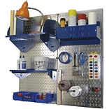 Wall Control Craft Center Pegboard Organizer Kit; Galvanized Tool Board and Blue Accessories