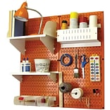 Wall Control Craft Center Pegboard Organizer Kit; Orange Tool Board and White Accessories