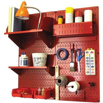 Wall Control Craft Center Pegboard Organizer Kit; Red Tool Board and Red Accessories