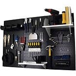 Wall Control 4 Metal Pegboard Standard Workbench Kit, Black Tool Board and White Accessories