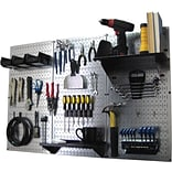Wall Control 4 Metal Pegboard Standard Workbench Kit, Galvanized Tool Board and Black Accessories
