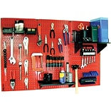 Wall Control 4 Metal Pegboard Standard Workbench Kit, Red Tool Board and Black Accessories