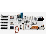 Wall Control 8 Metal Pegboard Master Workbench Kit, White Tool Board and Black Accessories