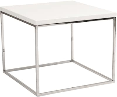 "Euro Style™ Teresa 24"" Square Wood/Stainless Steel Side Table; White"