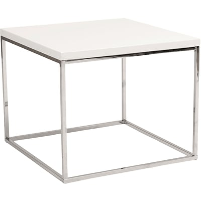 Euro Style™ Teresa 24 Square Wood/Stainless Steel Side Table; White